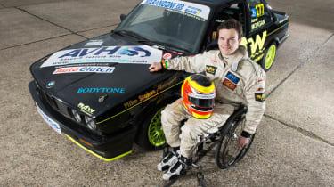 Aaron Morgan and his BMW 320i E30 racing car
