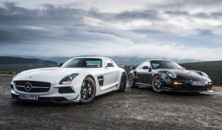 Porsche 911 GT2 RS v Mercedes SLS Black track video