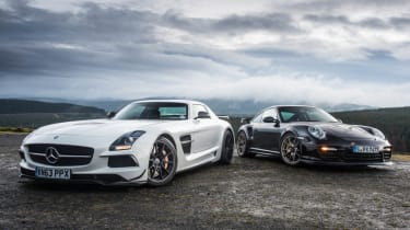 Porsche 911 GT2 RS v Mercedes SLS Black track video