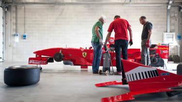 Michael Schumacher's Ferrari F1 car in bits