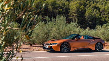 BMW i8 Roadster front three quarters