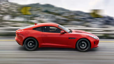 Jaguar F-type S Coupe red side profile