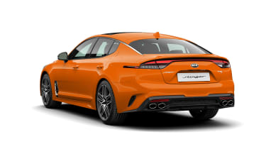 2021 Kia Stinger orange rear