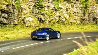 Porsche 911 Carrera S manual blue - rear quarter