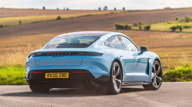 Porsche Taycan 2021 review - 4S rear cornering