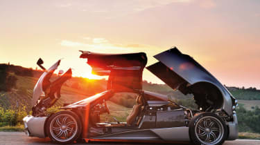 Pagani Huayra in the Italian hills doors open