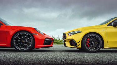 Porsche 911 Turbo S and Mercedes-AMG A45 S