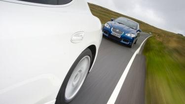 Porsche Panamera and Jaguar XFR