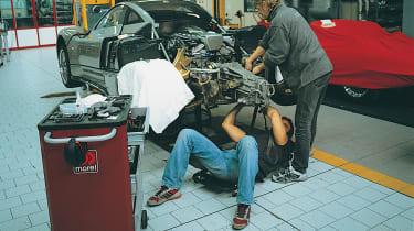 Pagani mechanics working on a Zonda