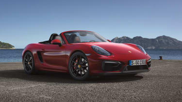Porsche Boxster GTS red roof down