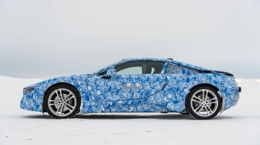 BMW i8 hybrid sports car side profile