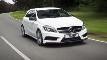Mercedes A45 AMG white front on road