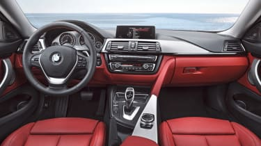 New BMW 4-series coupe interior dashboard red leather