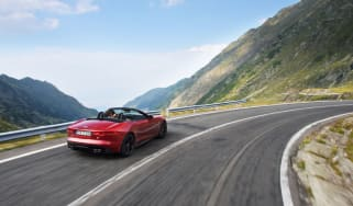 Jaguar F-type on the Transfagarasan highway in Romania