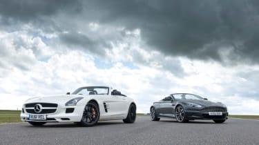 Mercedes SLS AMG Roadster vs Aston Martin DBS Volante evo track battle