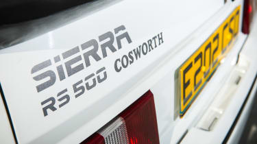 Ford Sierra Cosworth RS500 – badge close up