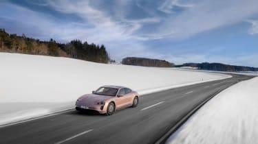 Porsche Taycan rwd - pink drone front