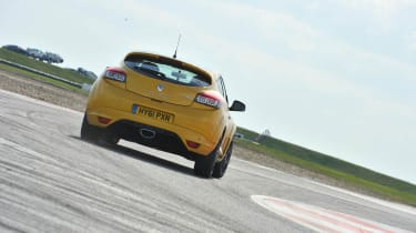 Yellow Renaultsport Megane 265 Trophy on track at Bedford