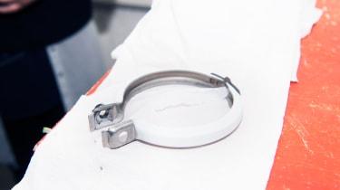 Exhaust bracket coated in Zircotec Performance White