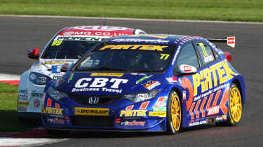 British Touring Cars Silverstone Andrew Jordan leads Jason Plato