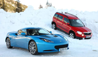 Skoda Yeti meets Lotus Evora in snow