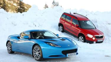 Skoda Yeti meets Lotus Evora in snow
