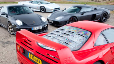 Ferrari F40 v Porsche GT2 RS v Noble M600 v Jaguar XJ220 video