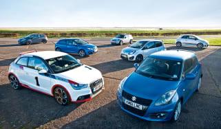 Suzuki Swift Sport v Abarth 500, Mini Cooper, Ford Fiesta, Seat Ibiza FR, Audi A1 1.4 TFSI and Renault Twingo