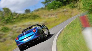 Ferrari California T blue roof down