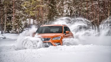 SEAT Ateca snow front three-quarters