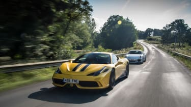 Ferrari 458 Speciale and 911 GT3 - front