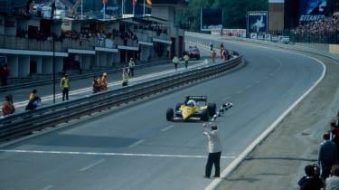 Alain Prost winning the 1983 Belgium Grand Prix at Spa
