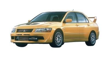 Mitsubishi Lancer Evolution VII - yellow on white