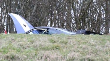 crashed 9ff GT9R over crest