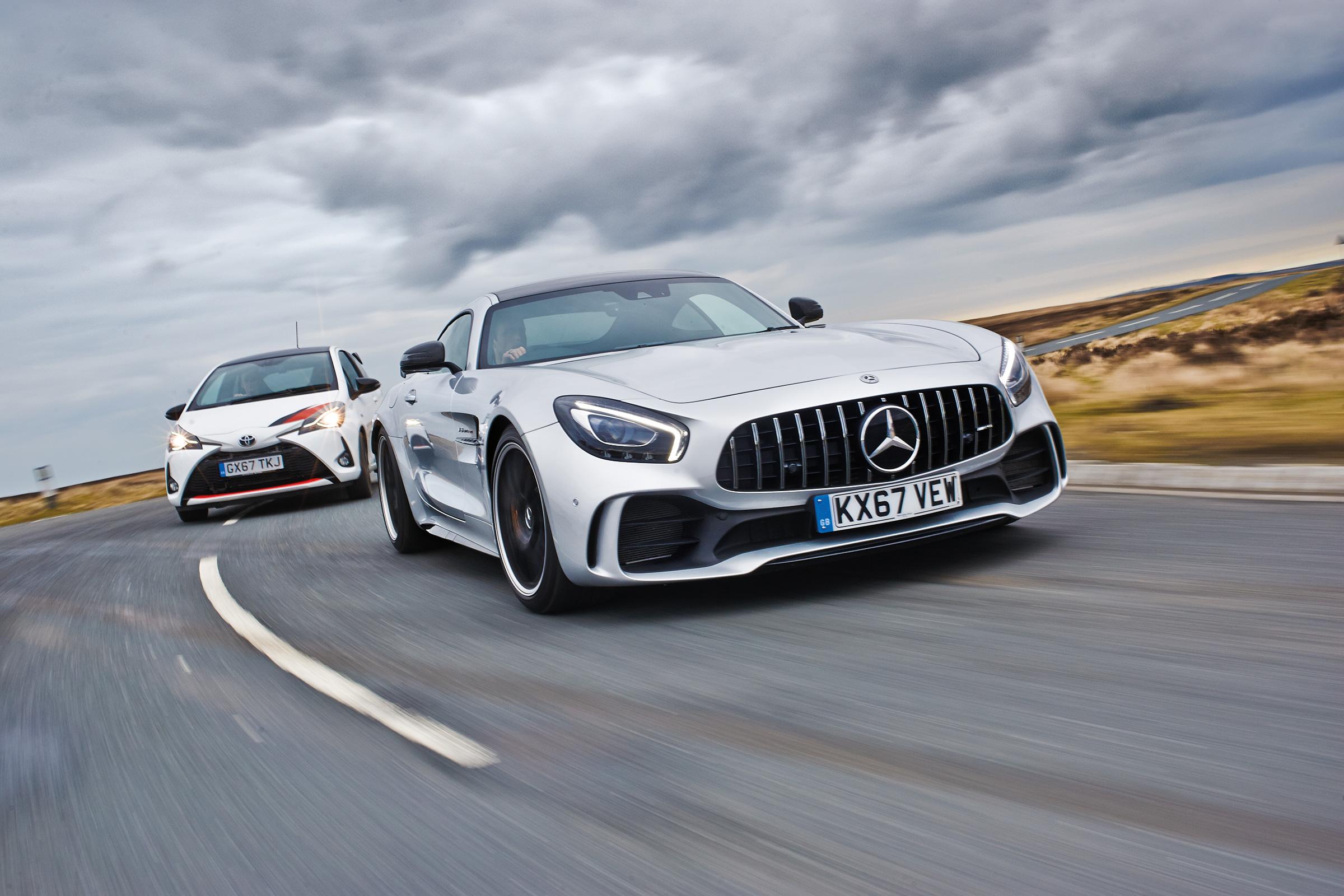 Little & large: Mercedes-AMG GT R vs Toyota Yaris GRMN | Evo