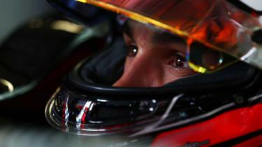 Esteban Ocon in the pits