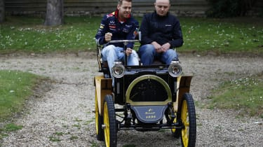 Sebastian Vettel drives vintage Renault car