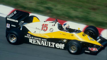 Alain Prost driving the Renault RE40 (1983)