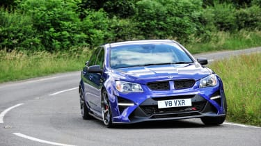 Vauxhall VXR8 GTS-R blue - UK car front driving