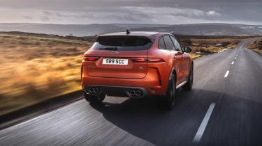 Jaguar F Pace SVR 2021 review - rear tracking