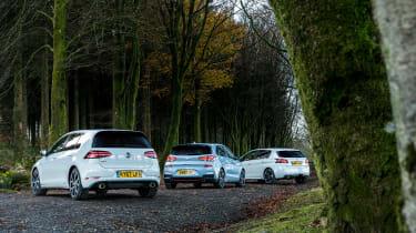 Hyundai i30N group test (Golf GTI and Peugeot 308 GTI) - rear