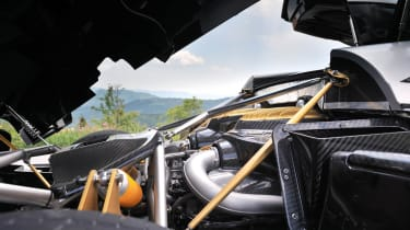 Pagani Huayra in the Italian hills engine bay