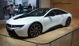 BMW i8 hybrid supercar white